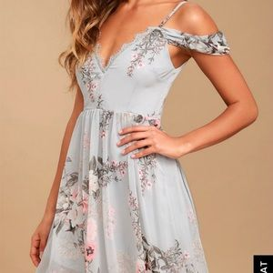 Lulu's Verona Light Blue Off The Shoulder Dress